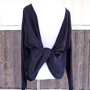 Fabletics twist back black blouse top sz L